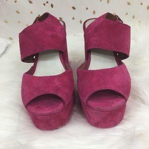 Jefferey Campbell Umeko Fuscia Suede Platform Shoe